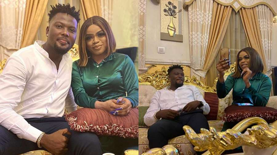 Ultimate Love star, Arnold meets cross dresser, Bobrisky for the first time (photos)