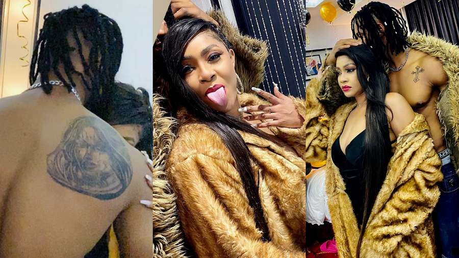 Actress Angela Okorie's fiance ChuChu impresses, tattoos her face on his back