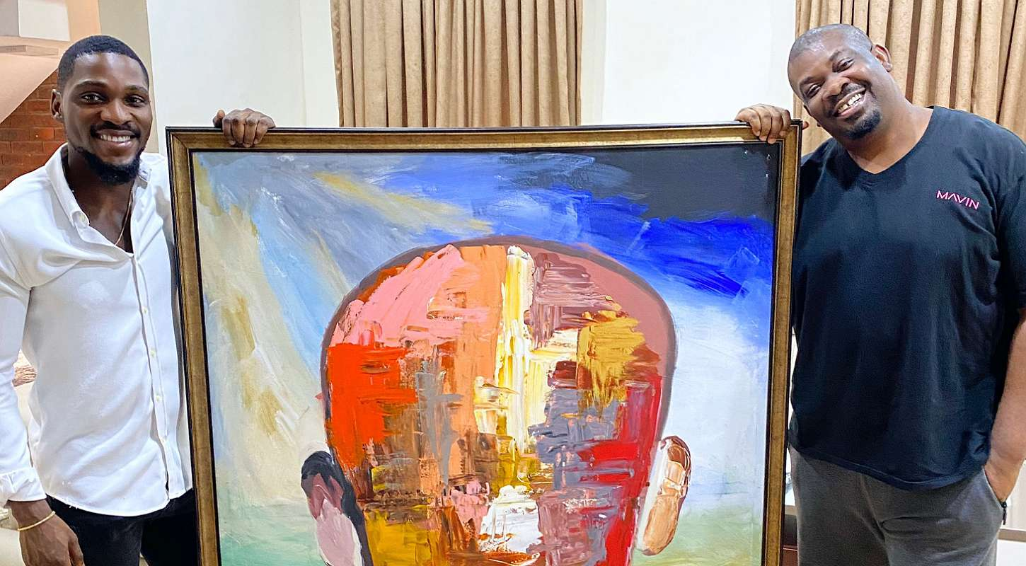 BBNaija star Tobi auctions his painting to Don Jazzy