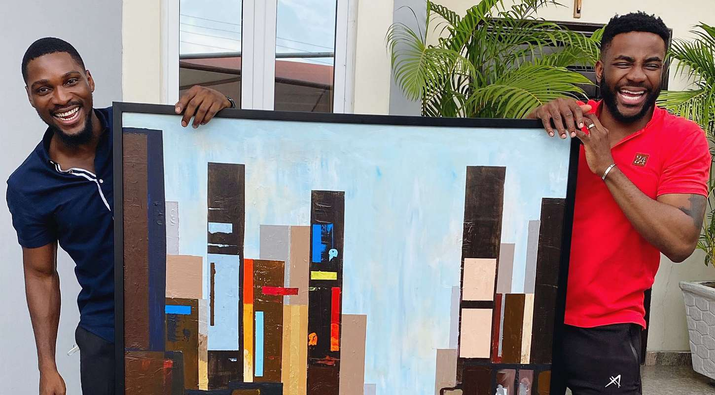 BBNaija: Tobi delivers new painting masterpiece to Ebuka