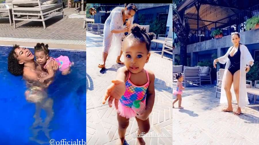 BBNaija: TBoss takes her daughter out for swimming (video)