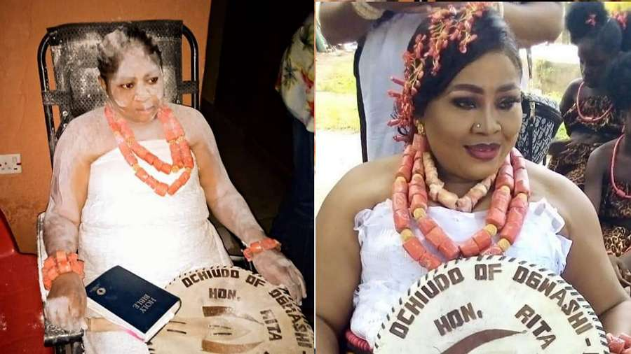 Regina Daniels' mother, Rita Daniels receives chieftaincy title