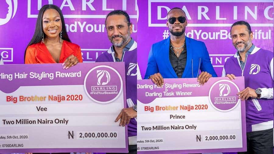 BBNaija: Vee, Prince, Nengi finally receive their Darling Hair Styling rewards (photos)