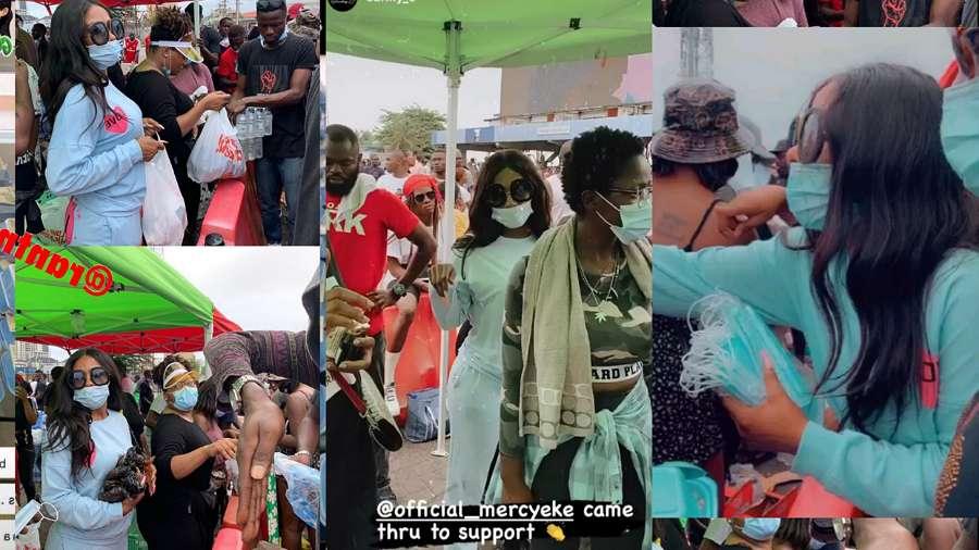 BBNaija's Mercy Eke feeds hundreds of protesters (video)
