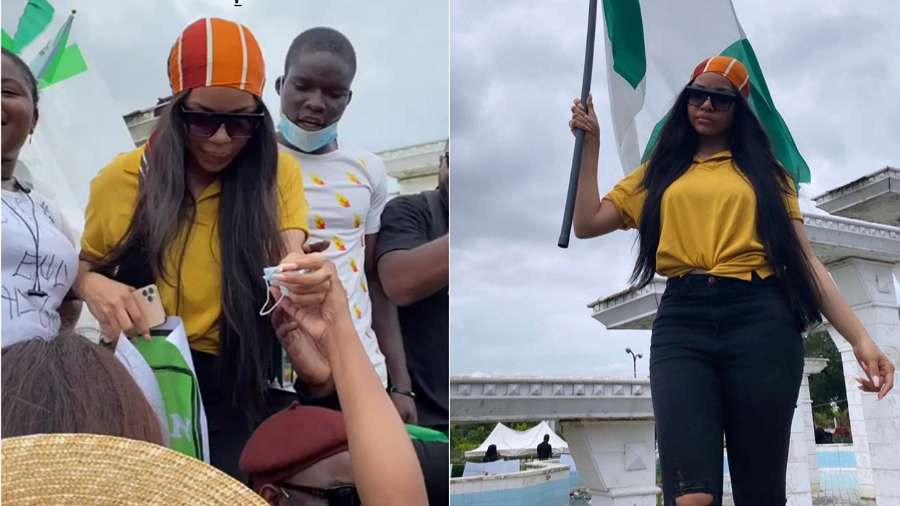 BBNaija's Nengi jets down from South Africa, joins #EndSARS protest