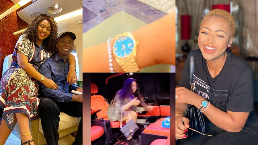 Ned Nwoko lavishes wife, Regina Daniels with brand new car and a wristwatch worth N24m