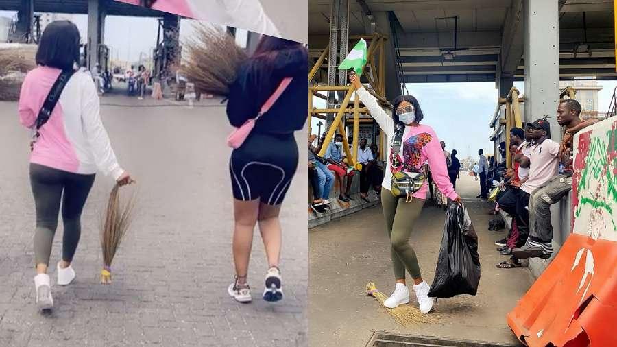 BBNaija star Mercy Eke cleans Lagos environs amid #EndSARS protest
