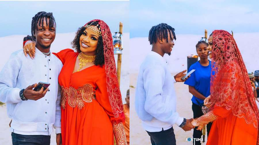 Photos show BBNaija's Laycon present in support of Nengi during 'Jowo' video shoot